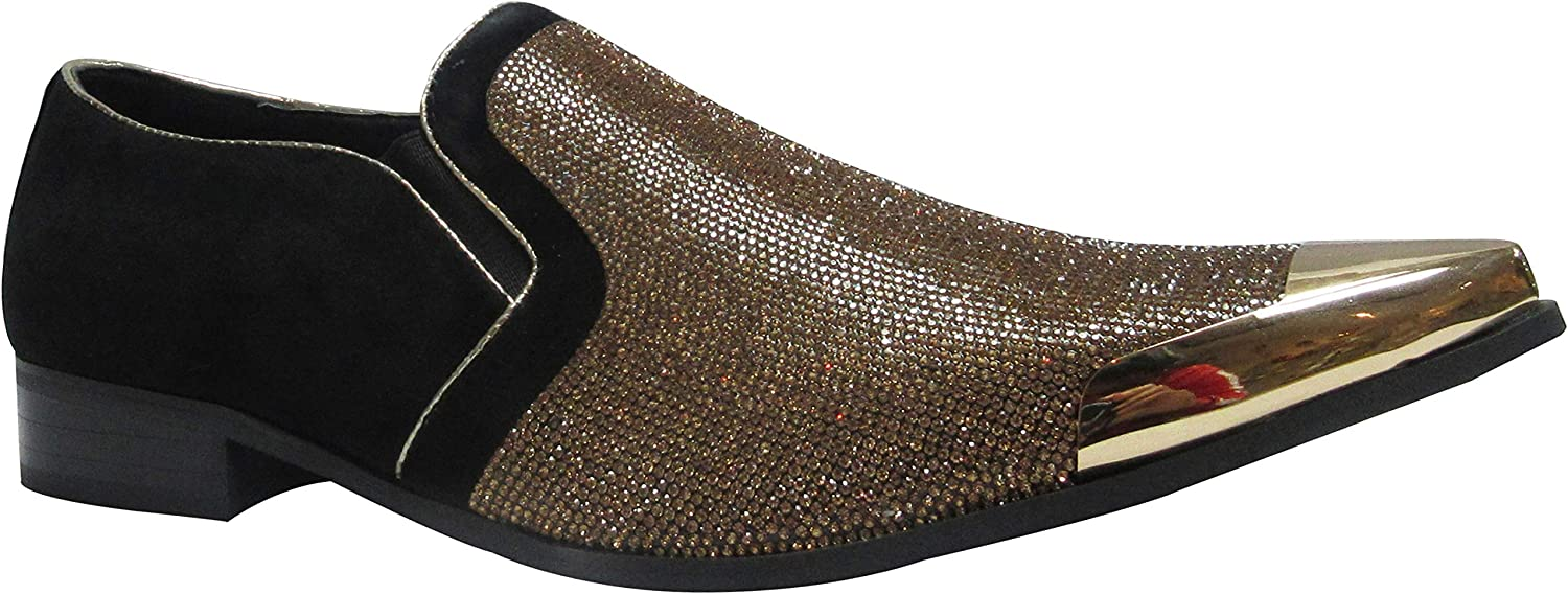 Sky_Walker_df Men gold Red Diamante Rivet Smart Black Loafers Driving Dress Slip On Party Wear Wedding Flat Casual shoes Size 6 to 12