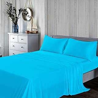 Yatong 1600 Thread 100% MOSO Bamboo Bedding Sheet Set, Fitted, 1 Flat, 2 Pillow Cases - 4 Piece (Tiffany Blue, King-Size)