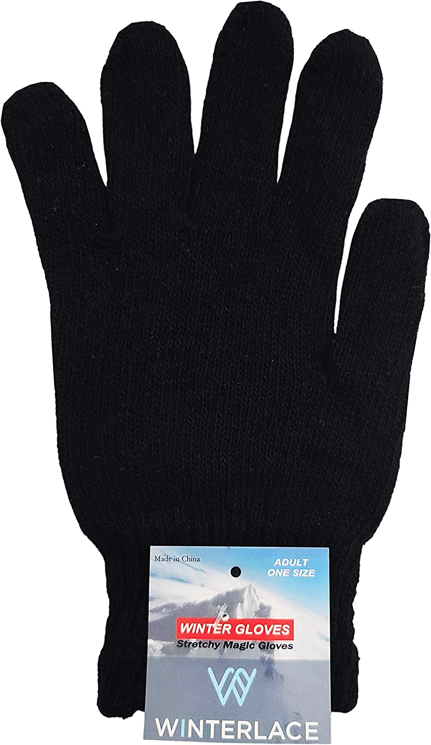 48 Pairs Winter Magic Gloves, Bulk Warm Brushed Interior, Stretchy Assorted Mens Womens