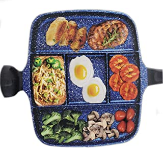 5 Section Nonstick Divided Pan, Five Compartment Grill Fry Sauté Pan Skillet for Steak Fish Entrees Vegetables and Side Di...
