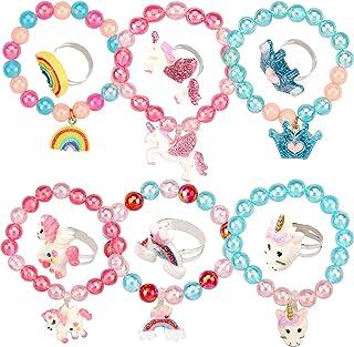 12 Pieces Unicorn Bracelet Ring Set Little Girls Jewelry Set Shiny Rainbow Unicorn Crown Beaded Bracelet with Colorful Adj...