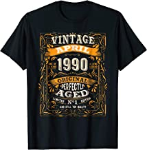 Vintage April 1990 28 Years Old 28th Birthday Gift T-Shirt