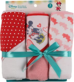 Disney Minnie Mouse 3Piece Rolled Infant Hooded Towel, Hearts Print