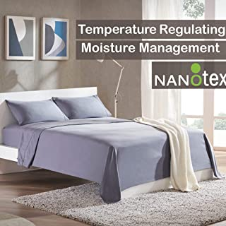 SLEEP ZONE Bed Sheet Sets Cooling Soft Wrinkle Free Fade Resistant Easy Sheets 4 PC, Gray,Full