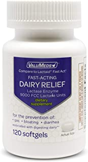 ValuMeds Fast Acting Dairy Relief Lactose Enzymes, 120 Softgels, Help Prevent Gas, Bloating, Diarrhea, Into...