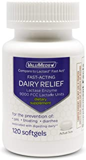 ValuMeds Fast Acting Dairy Relief Lactose Enzymes, 120 Softgels, Help Prevent Gas, Bloating, Diarrhea, Intolerance, or Sensitivity, Comparable to Lactaid