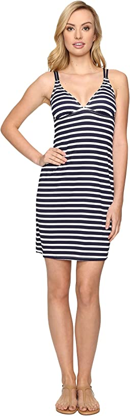 Breton Stripe Double Strap Swim Dress Cover-Up