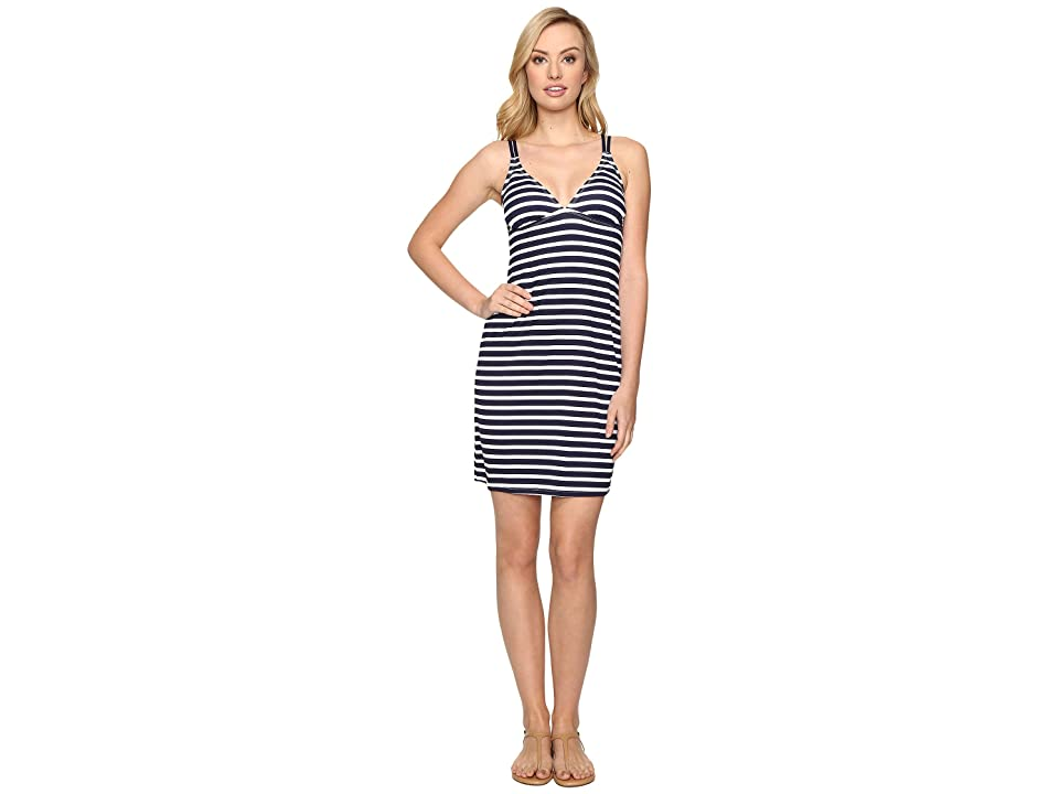 Tommy Bahama Breton Stripe Double Strap Swim Dress Cover-Up (Mare Navy/White) Women