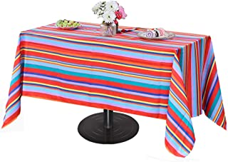 Poise3EHome 60X84 Outdoor/Indoor Waterproof Spillproof Rectangle Tablecloth with Umbrella Hole for Camping, Picnic, Afternoon Tea, BBQ, Color Stripe