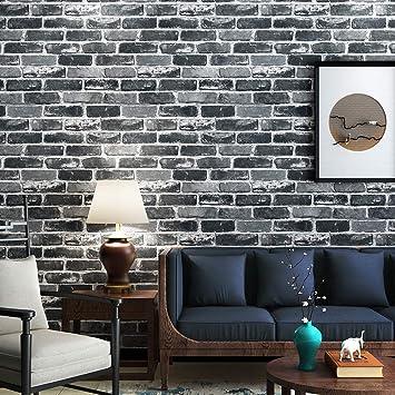 Akea Gray Brick Wallpaper Roll 3d Effect Fake Faux Brick Blocks Vintage Home Decoration Grey Amazon Com