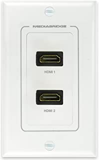 Mediabridge HDMI Wall Plate (2 Port) - Supports 4K, 3D, ARC - LIMITED TIME OFFER: FREE Low Voltage Metal Mounting Bracket (1-Gang) - 2-Piece Inset Wall Plate for 2 HDMI (Part# WP1-HDMIX2 )