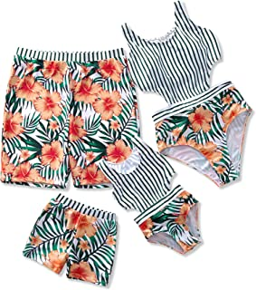 Family Matching Swimwear 2019 Newest One Piece Floral Printed Bathing Suit Tank Top Striped Beachwear