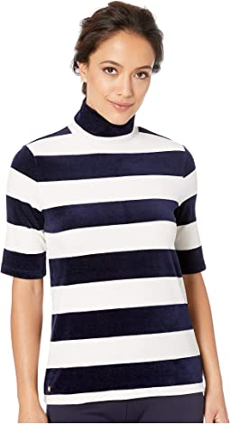 Striped Velour Turtleneck Top