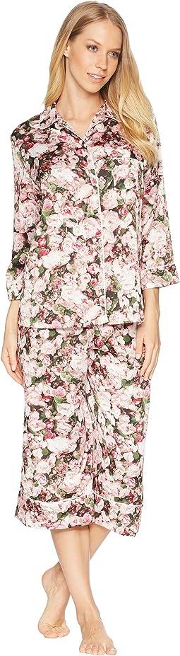 Photoreal Bouquet Satin Capris Pajama Set
