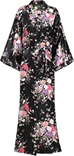 black floral kimono long
