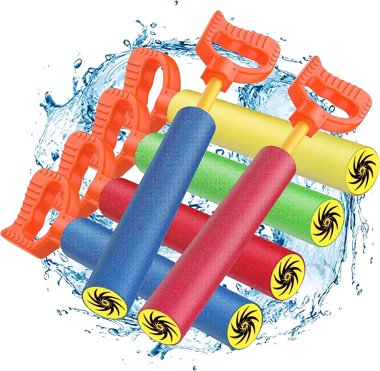 MoKo 6PZS Pistolas de Agua, Juguetes Acuáticos y Tiradores de Espuma y Plástico para Adultos Niños, para Juegos de Disparo Aire Libre Piscina Playa Verano, Azul Rojo Verde y Amarillo