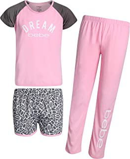Girls' 3-Piece Pajama Sleepwear Set with Short Sleeve Top, Shorts, and Pants