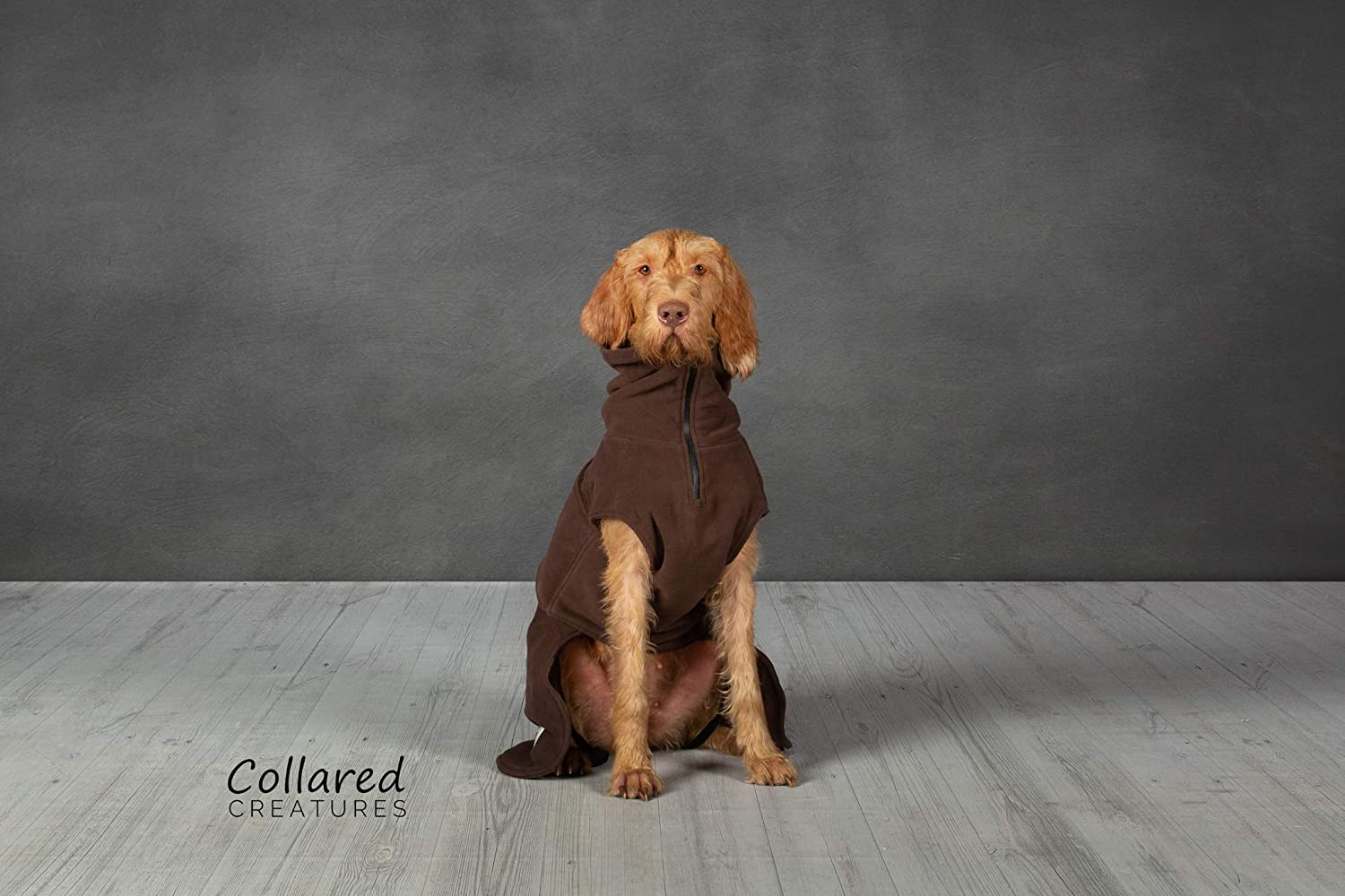 Collared Creatures Dog Drying Coat, TowlingMicrofiber Lined Fleece Jacket Brown (available sizes XS, S, M, L, L XLong, XL, XL XLong) XLarge 59cm
