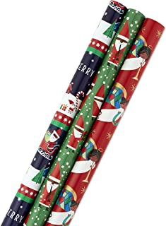 Hallmark Mahogany Christmas Wrapping Paper Bundle with Cut Lines on Reverse (Pack of 3, 120 sq. ft. ttl)