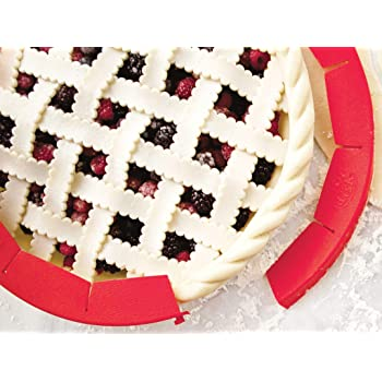 """Talisman Designs Authentic Adjustable Pie Crust Shield, BPA-free and Food Safe Silicone, Fits Rimmed Dish 8.5"""" - 11.5"""", Red"""