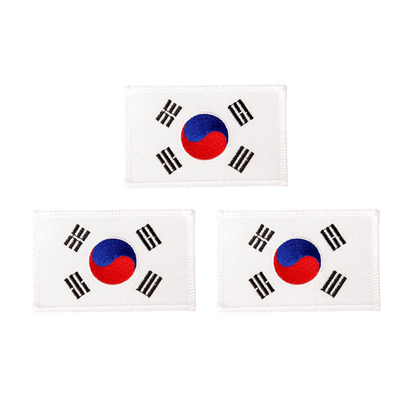 South Korea Flag Patch Bulk 3-Pack 3.5Wx2.25H State Iron On Sew Embroidered Tactical Morale Back Pack Hat Bags Korean (3-Pack Patch)