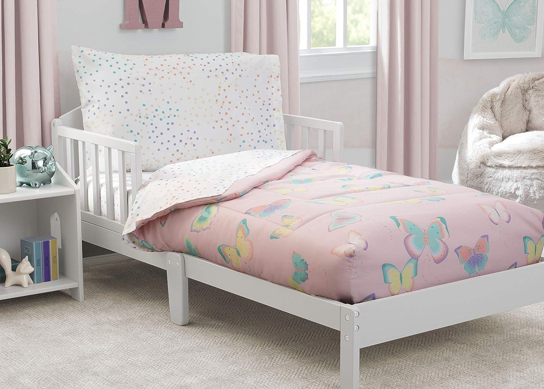 Delta Children Toddler Bedding Set   Girls 4 Piece Collection   Fitted Sheet, Flat Top Sheet w/Elastic Bottom, Fitted Comforter w/Elastic Bottom, Pillowcase, Flutter   Blue