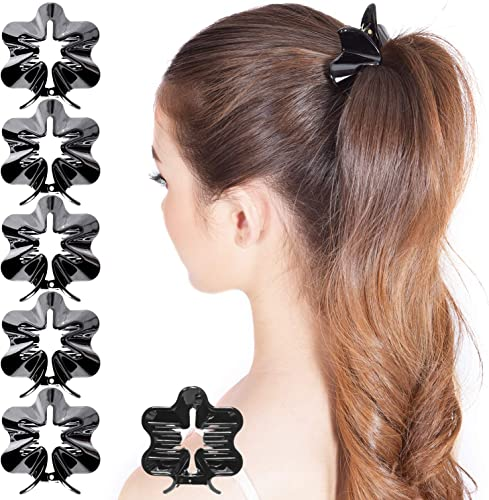 lowest RC ROCHE ORNAMENT 6 Pcs Womens Pretty Hollow Flower Starfish Firm Grip No Slip Claw Clamp Girls Beauty Accessory online Beautiful Hair outlet online sale Styling Décor Premium Plastic Hair Clips, Medium Black online sale