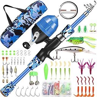 قطب ماهیگیری Annleor Kids - Telescopic Fishing Rod and Reel Combo Kit - چرخ دنده ماهیگیری ، ترفندهای ماهیگیری ، کیف حمل ، تجهیزات کاملا ماهیگیری - برای پسران ، دختران ، جوانان