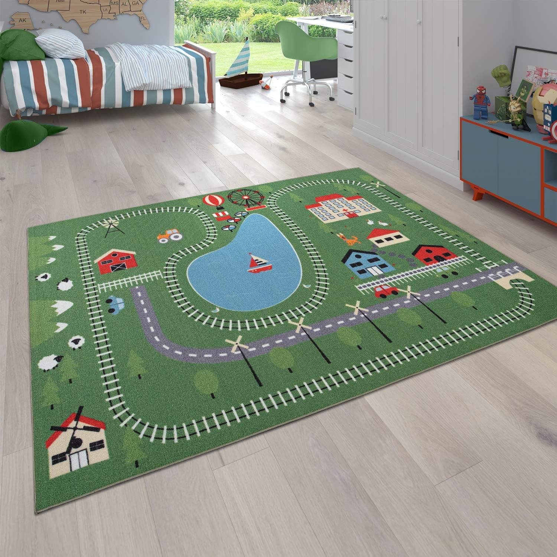 tama/ño:/Ø 200 cm Cuadrado Alfombra Infantil Juego para Dormitorio Ni/ños Motivo Calles con Animales Crema
