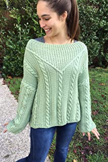 Jersey tejido a mano por mí, de color verde, talla M, para mujer o chica