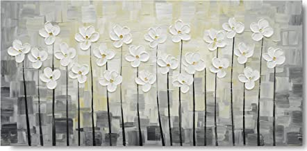 Yihui Arts Wall Art Pallet Knife Pictures Painting White Lily Bouquet of Flowers Oil Painting Floral Artwork Print on Wrapped Canvas for Walls (24Wx48L)