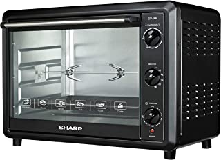 Sharp 60L 2000W Double Glass Electric Oven with Rotisserie & Convection, EO-60NK-3, Black