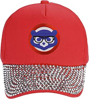 Chicago Cubs Womens Hat Chicago Cubbie with Joe Maddon Harry Caray Novelty Glasses (Red Rhinestone)