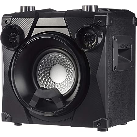 Amazon Basics Party Speaker - Wireless PA Speaker with Lights, Radio, Bass Boost, Mic Input and USB Charging