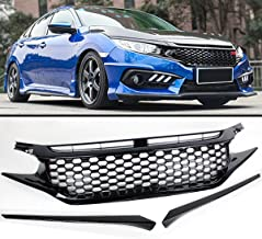 Fits for 2016-2019 Honda Civic Glossy Black Mesh Badgeless Front Hood Grill Grille + Eye Lid