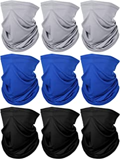 9 Pieces Lightweight Neck Gaiter Sun Protection Face Mask Thin Face Scarf