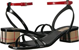 Tartan and Patent Leather Block-heel Sandals