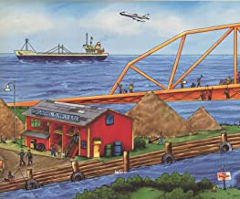 Construction Project by Sea Bridge Buildings Panorama Extra Wide Kids Wallpaper Border Modern Design, Roll 15' x 12