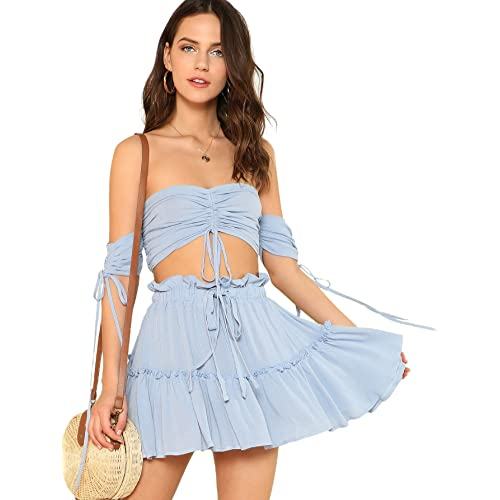 Floerns Women s Two Piece Outfit Off Shoulder Drawstring Crop Top and Skirt  Set 3cba1e0ca