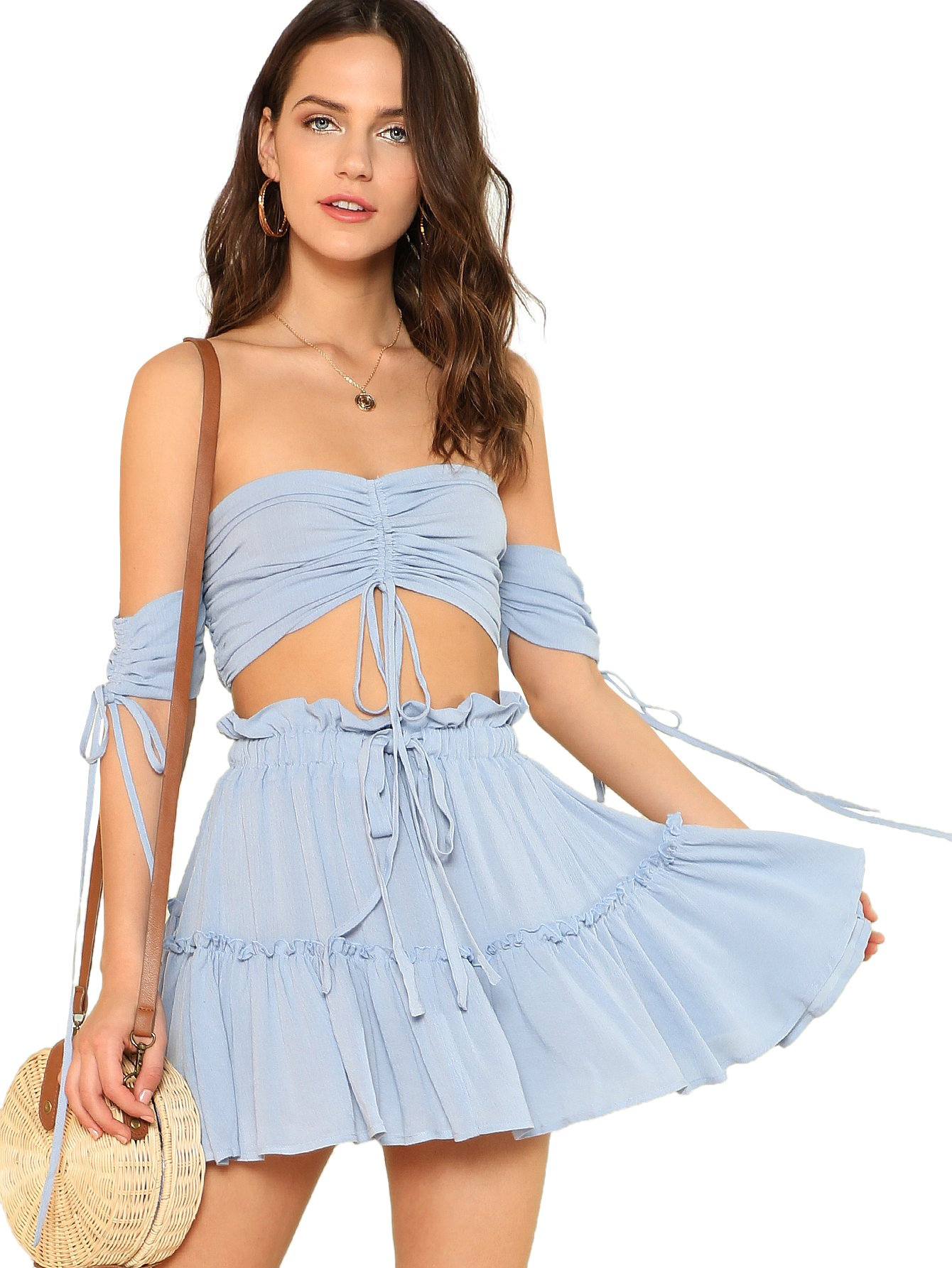 Floerns Womens 2 Piece Outfit Spaghetti Strap Cami Crop Top and Skirt Set
