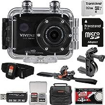 Vivitar DVR786HD 1080p HD Waterproof Action Video Camera Camcorder (Black) with Remote, Vented Helmet & Handlebar Bike Mounts + 32GB Card + Case + Kit