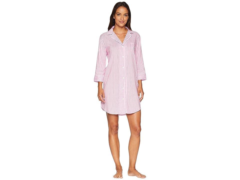 LAUREN Ralph Lauren Classic Woven 3/4 Sleeve Pointed Notch Collar Sleepshirt (Pink Stripe) Women