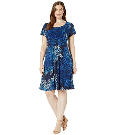 MICHAEL Michael Kors Plus Size Tahitian Reef Cap Dress (True Navy/Grecian Blue) Women