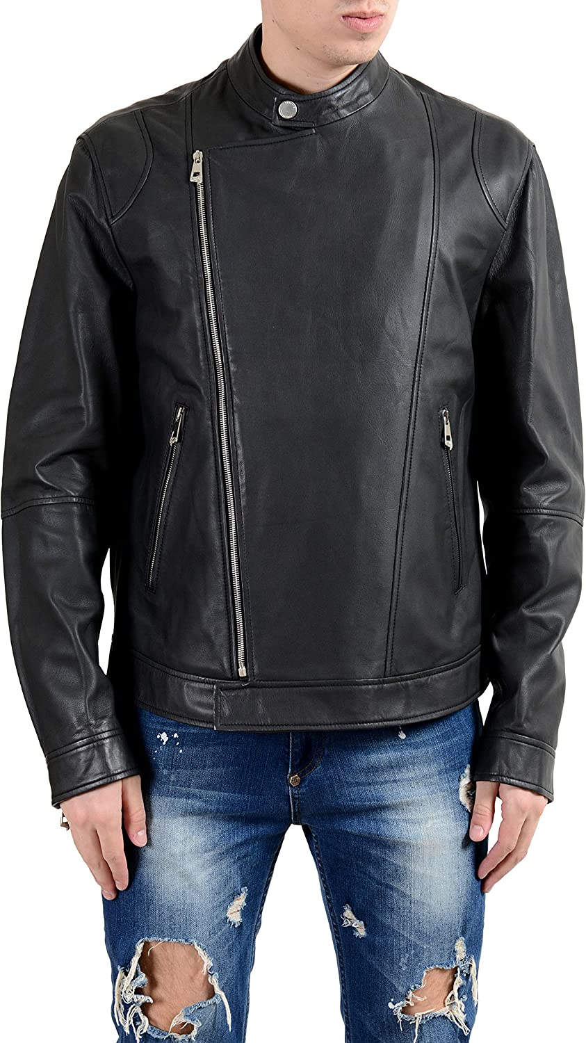 Versace Collection Men's 100% Leather Gray Double Breasted Jacket Sz US XL IT 54