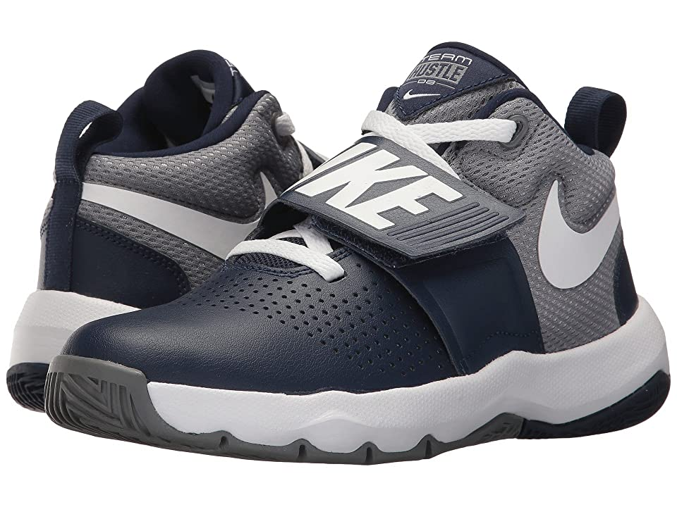 Nike Kids Team Hustle D8 (Big Kid) (Midnight Navy/White/Cool Grey) Boys Shoes