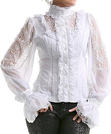 crazyinlove Mujer Camisa blanca con perlas negro S: Amazon.es ...