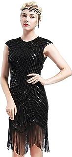BABEYOND 1920s Flapper Dress Costume Great Gatsby Dress 1920s Fancy Dress 20s Beaded Fringed Embellished Dress