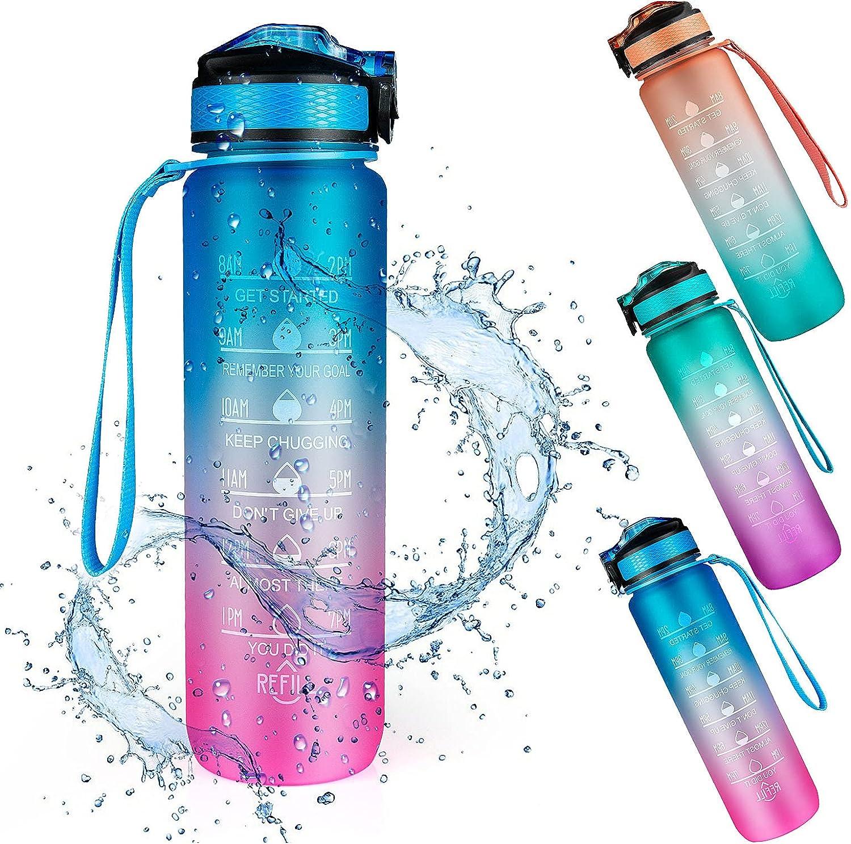 Botella de Agua Deportiva, Weinsamkeit 1000ML Botella Agua Tritan sin BPA con Marcador de Tiempo Motivacional, 1 Litro Water Bottle para Gimnasio, Entrenamiento, Viajes, Oficina, Escuela (Blue)
