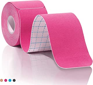 Kinesiology Tape Pro Athletic Sports. Knee, Ankle, Muscle, Kinetic Sport Dynamic, Physical Therapy. Strong-Rock Breathable h2o Resist Cotton.Roll,pre-Cut 10 in Strip -Pink