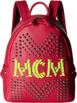 Stark Neon Stud Leather Backpack 27